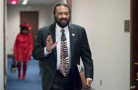 FILE - Rep. Al Green, D-Texas, arrives for a Democratic Caucus meeting on Capitol Hill in Washington, Nov. 29, 2017.
