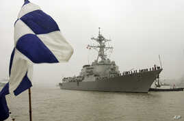 FILE - Guided missile destroyer USS Lassen arrives in Shanghai, China.