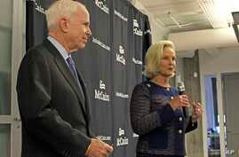 Senate 2016 Arizona Women: Cindy McCain, right, introduces her husband, Sen. John McCain, R-Ariz., to a group of female supporters in Scottsdale, Ariz., Oct. 12, 2016.  Sen. McCain announced a new coalition of female supporters at the event, just day...