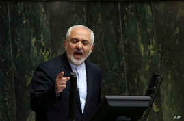 Iranian Foreign Minister Mohammad Javad Zarif, who is also Iran's top nuclear negotiator, addresses an open session of parliament in Tehran, July 21, 2015.
