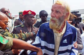 Robert Nitsch Eberhard, a German citizen abducted and held hostage by suspected  Boko Haram militants, arrives at the Yaounde Nsimalen International airport after his release in Yaounde, Cameroon, Jan. 21, 2015.