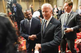 Vice President Joe Biden leaves the the Old Senate Chamber following a mock swearing in ceremony on Capitol Hill in Washington, Tuesday, Jan. 3, 2017, as the 115th Congress begins.