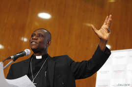 Archbishop Josiah Idowu-Fearon speaks at the 12th Annual Daily Trust dialogue in Abuja, Nigeria, Jan. 22, 2015.