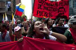 """Members of a pro-government """"colectivo,"""" or """"collective,"""" march in downtown Caracas, Venezuela, Feb. 20, 2014."""