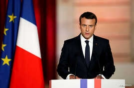French President Emmanuel Macron delivers a speech during his inauguration at the handover ceremony at the Elysee Palace in Paris, May 14, 2017.