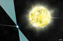 In this illustration from the National Radio Astronomy Observatory, a stellar pair consisting of a pulsar and a white dwarf star is seen.
