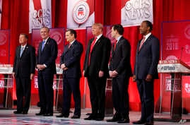 Republican presidential candidates take the stage before the CBS News Republican presidential debate at the Peace Center, Feb. 13, 2016, in Greenville, S.C.