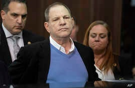 FILE - Harvey Weinstein listens during a court proceeding in New York, May 25, 2018.