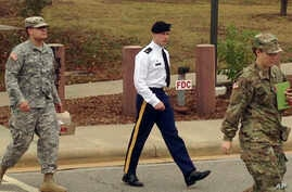 Army Sgt. Bowe Bergdahl leaves a courtroom after a pretrial hearing in Fort Bragg, NC., Monday, Nov. 14, 2016. Bergdahl faces a military trial in 2017 on charges of desertion and misbehavior before the enemy after walking off his post in Afghanistan