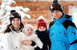 Britain's Prince William, right, and Duchess of Cambridge with their children, Princess Charlotte, center left, and Prince George, enjoy a short private break skiing in the French Alps, March 3, 2016.