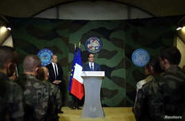 French President Francois Hollande gives a speech at the French Military base Sangaris Mpoko in Bangui, Central African Republic, May 13, 2016.