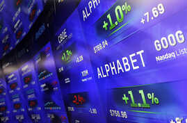 FILE - In this Monday, Feb. 1, 2016, file photo, electronic screens post prices of Alphabet stock at the Nasdaq MarketSite in New York. An organization affiliated with Google is offering tools for news organizations and other election-related sites t