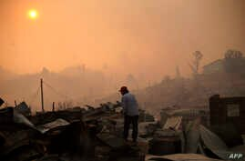 A man stands amid the remains of a burnt house after a forest fire devastated Santa Olga, 240 kilometres south of Santiago, Jan. 26, 2017.