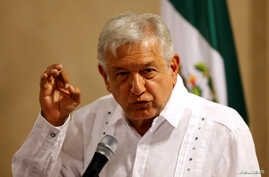 Andres Manuel Lopez Obrador, leader of the National Regeneration Movement (MORENA), speaks during a news conference in Mexico City, Mexico, June 9, 2017.