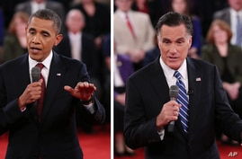 In a photo combo, President Barack Obama, left, and Republican presidential nominee Mitt Romney address the audience during the second presidential debate at Hofstra University, Oct. 16, 2012, in Hempstead, N.Y.