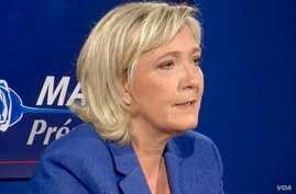 Far-right French presidential candidate Marine Le Pen says she supports U.S. President-elect Donald Trump because his foreign policies appear not to be detrimental to France. To the contrary, she says, issues like his opposition to the EU-U.S. free-t
