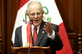 Peru's President Pedro Pablo Kuczynski addresses Congress during his inauguration ceremony in Lima, Peru, July 28, 2016.