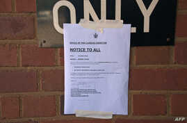 This photo taken on April 20, 2018, shows a notice concerning a nurse's strike at Mpilo Central Hospital in Bulawayo, Zimbabwe.