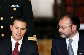 Mexico's President Enrique Pena Nieto (L), gestures as Mexico's Foreign Minister Luis Videgaray looks on during a meeting with members of the diplomatic corps in Mexico City, Mexico, Jan. 11, 2017.