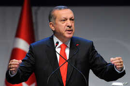Turkey's Prime Minister Recep Tayyip Erdogan addresses a forum in Istanbul, Turkey, Oct. 13, 2012. Turkey's prime minister sharply criticized the U.N. Security Council on Saturday for its failure to agree on decisive steps to end the 19-month civil w