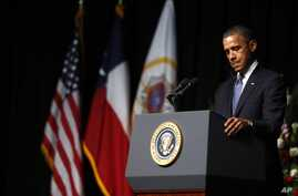 President Barack Obama speaks at the memorial for firefighters killed at the fertilizer plant explosion in West, Texas, at Baylor University in Waco, Texas, April 25, 2013.