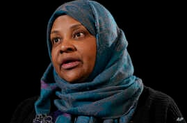 Marzieh Hashemi, a prominent American-born television anchorwoman for Iran's state television, who was detained for 10 days as material witness in a grand jury investigation, speaks during a interview with the Associated Press in Washington, Jan. 24,