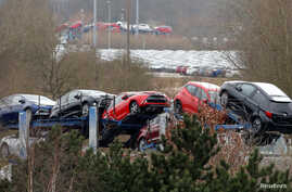 New Toyota cars are transported from their manufacturing facility in Burnaston, Britain, March 16, 2017. February 2019 marked the ninth month of declining exports, which account for 80 percent of production in Britain.