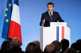 French President Emmanuel Macron addresses French Ambassadors at the Elysee Palace in Paris, Aug. 29 2017.