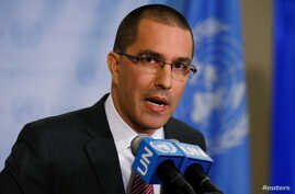 Venezuela's Foreign Minister Jorge Arreaza speaks during a press conference on the sidelines of the 72nd United Nations General Assembly at U.N. Headquarters, New York, Sept. 19, 2017.