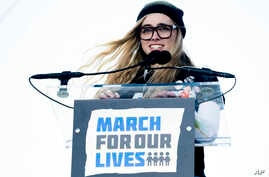 "Delaney Tarr, a survivor of the mass shooting at Marjory Stoneman Douglas High School in Parkland, Florida, speaks during the ""March for Our Lives"" rally in support of gun control in Washington, March 24, 2018."