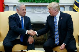 President Donald Trump meets with Israeli Prime Minister Benjamin Netanyahu in the Oval Office of the White House, March 5, 2018.
