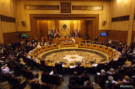 Foreign ministers of the Arab League countries meet in Cairo, Nov. 3, 2013. Syrian National Coalition President Ahmad Jarba told an Arab League emergency meeting on Sunday that the opposition would not attend proposed peace talks in Geneva unless the