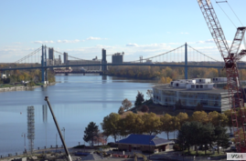 Securing development funding for this large parcel of riverfront property has proven difficult for city officials representing the Marina District in Toledo, Ohio, Nov. 6, 2016. (C. Yu/VOA News)