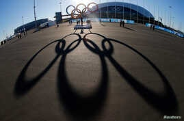 The Olympic rings are cast in shadow as the sun sets behind the Bolshoy Ice Palace as preparations continue at the Olympic Park for the 2014 Winter Olympics in Sochi, Russia, Feb. 3, 2014.