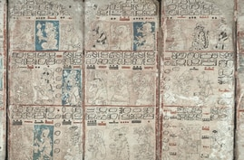 Pages from the ancient Mayan book called the Dresden Codex. From Wikimedia Commons