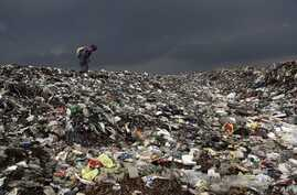 A woman searches for reusable material at a garbage dump near Deepor Beel Wildlife Sanctuary on the outskirts of Gauhati, India, June 5, 2012.