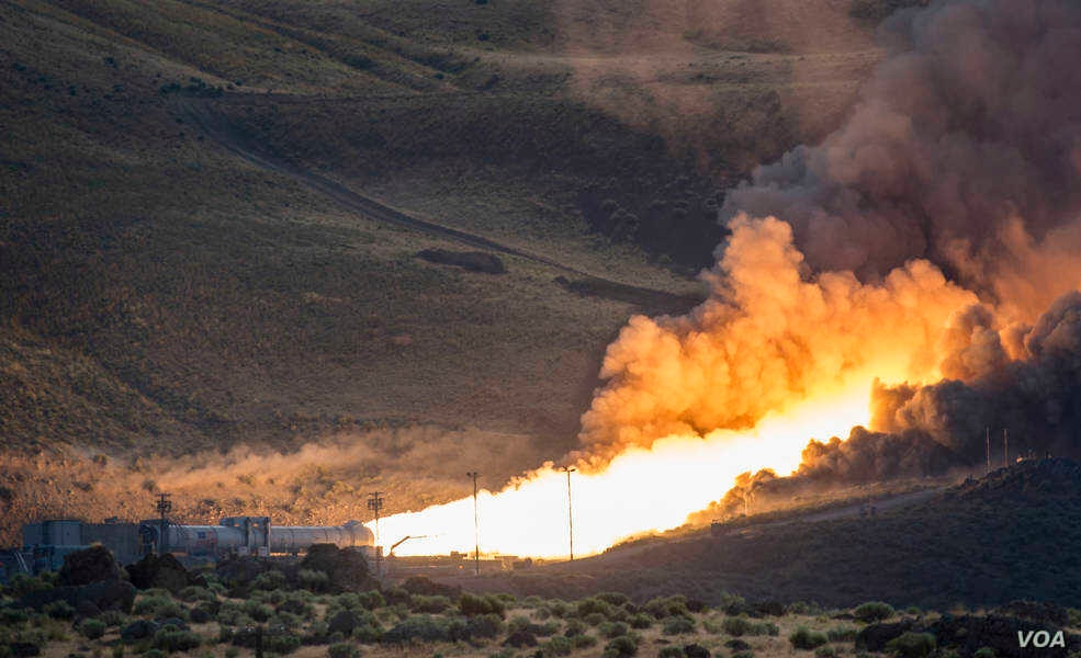 The second and final qualification motor (QM-2) test for the Space Launch System's booster is seen, Tuesday, June 28, 2016, at Orbital ATK Propulsion System's (SLS) test facilities in Promontory, Utah. During the SLS flight the boosters will provide