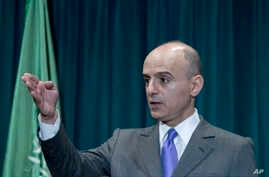"""Saudi Arabian Ambassador Adel al-Jubeir, talking to reporters in Washington, says """"there can be no half measures"""" in the effort to stop the Houthis' advance in Yemen, April 15, 2015."""