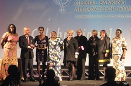 Theopista Sekitto, third from left, at the Global Banking Alliance for Women 10th Anniversary Summit Gala and Innovation Award ceremony.