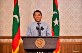 FILE - Maldivian President Abdulla Yameen speaks as he gives a statement at President office in Male, Maldives September 24, 2018.