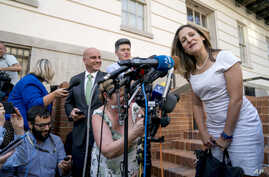 Canadian Foreign Affairs Minister Chrystia Freeland speaks to members of the media as she arrives at the Office of the United States Trade Representative, Aug. 28, 2018, in Washington. Canada, America's longtime ally and No. 2 trading partner, was le