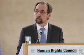 United Nations High Commissioner for Human Rights Zeid Ra'ad Al Hussein addresses the 37th session of the United Nations Human Rights Council on Feb. 26, 2018 in Geneva.