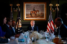 President Donald Trump speaks during a meeting with state leaders about prison reform, Aug. 9, 2018, at Trump National Golf Club in Bedminster, New Jersey.