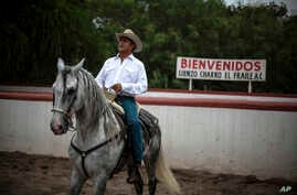 "FILE - This June 7, 2015 file photo shows Jaime Rodriguez, known as ""El Bronco,"" then an independent candidate for governor, on his horse, in Villa de Garcia, Mexico.  Mexico's top electoral court has ordered on Tuesday, April 10, 2018, that Rodrigue"