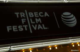 """The marquee is seen at world premiere of the film """"Live From New York"""" at the 2015 Tribeca Film Festival, in New York April 15, 2015. The 17th annual Tribeca event begins April 18, 2018."""