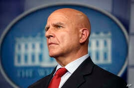 National security adviser H.R. McMaster listens during the daily press briefing at the White House in Washington, July 31, 2017.