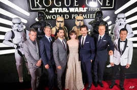 """The cast of """"Rogue One: A Star Wars Story"""" at the World Premiere at The Pantages Theatre, Dec. 10, 2016, in Hollywood, California."""