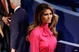 Melania Trump, wife of Donald Trump, arrives before the second presidential debate Oct. 9, 2016.