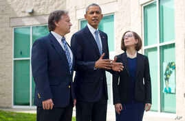 President Barack Obama with Oregon Gov. Kate Brown ® and Roseburg Mayor Larry following their meeting with families of the victims of the Oct. 1, shooting at Umpqua Community College,  Oct. 9, 2015 in Roseburg, Oregon.