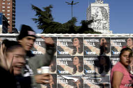 "Wall posters reading ""For Us, It's Her"" in reference to former Argentine president Cristina Kirchner, in downtown Buenos Aires, Argentina, June 14, 2017. Kircher on Wednesday announced the formation of a new party."